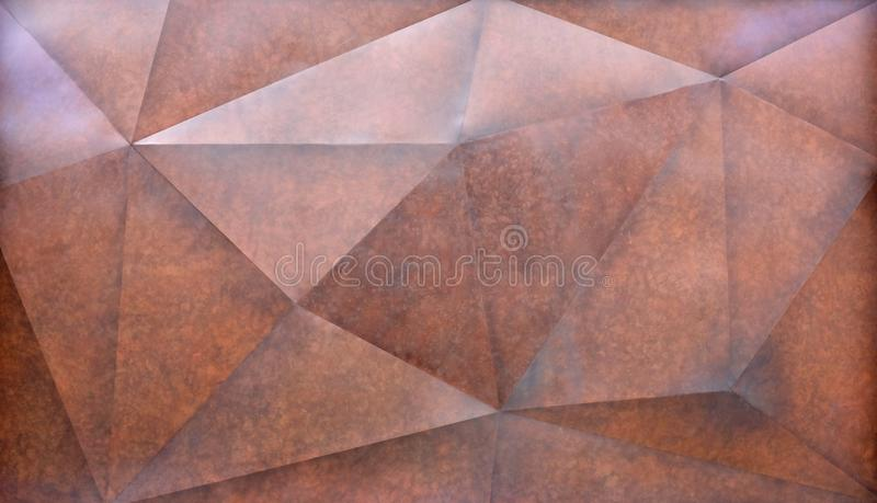Abstract brown polygonal Geometric Triangle wall Background stock photography