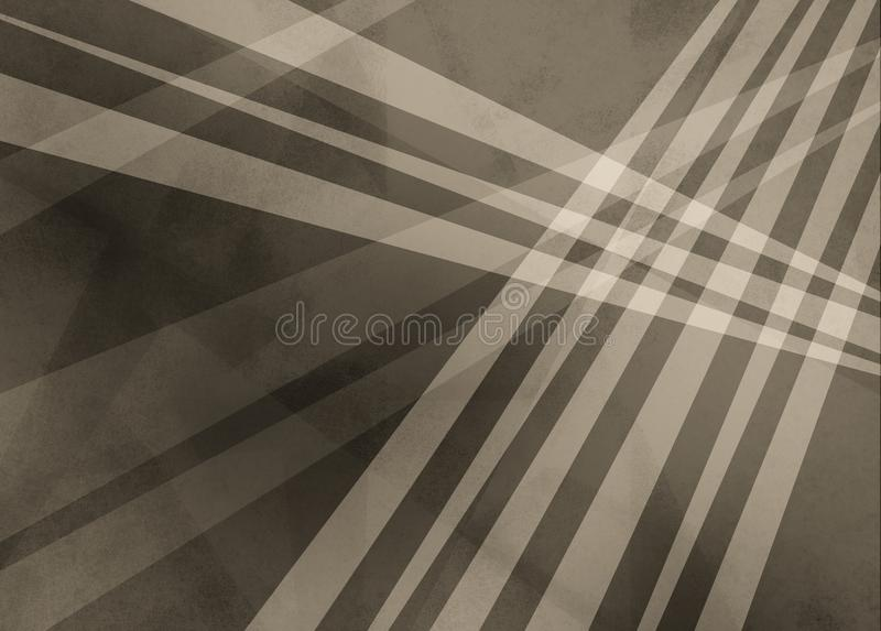 Abstract brown sepia background with white stripes or lines over triangle and geometric shapes in layered trendy design stock illustration