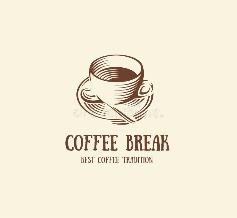 abstract bruin de kopembleem van de kleurenkoffie, ochtenddrank logotype, de vectorillustratie van het koffiesymbool vector illustratie