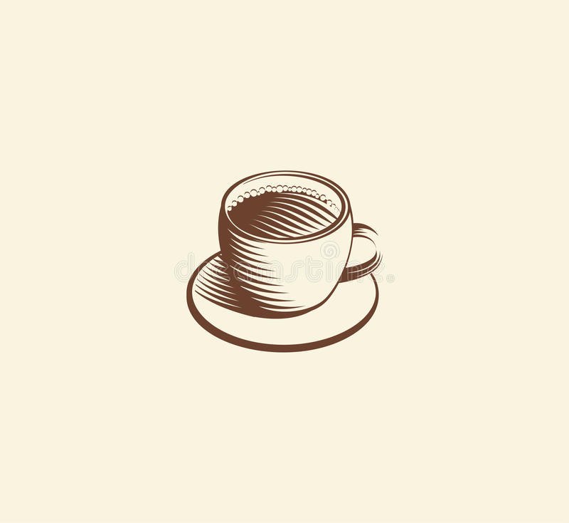 abstract bruin de kopembleem van de kleurenkoffie, ochtenddrank logotype, de vectorillustratie van het koffiesymbool royalty-vrije illustratie