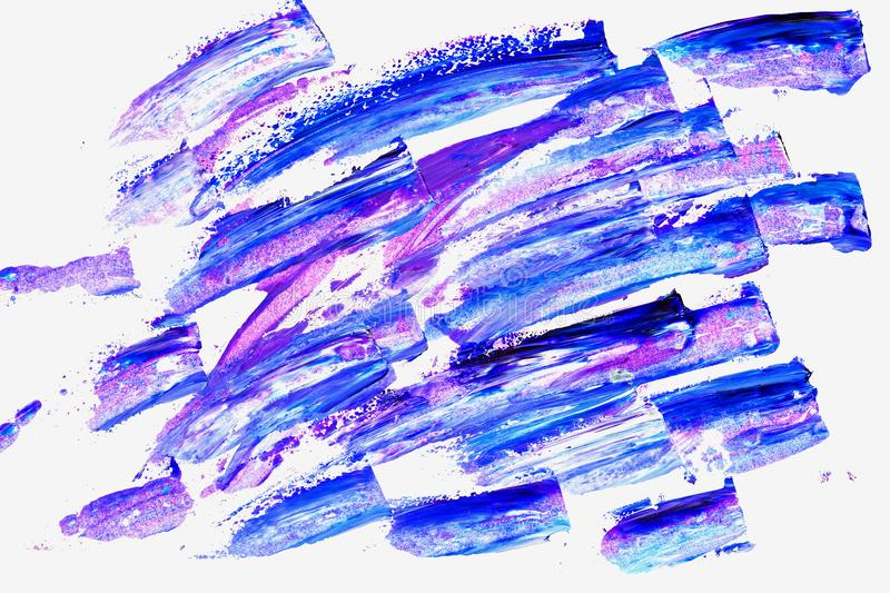 Abstract brush strokes. Close-up fragment of hand painted acrylic multicolor painting on white paper, violet and blue. Shades, grunge ink design. Modern art vector illustration