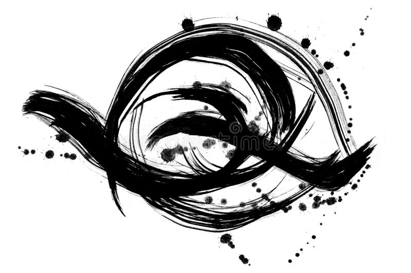 Abstract brush strokes and splashes of paint on white paper. Watercolor texture for creative wallpaper or design art work, black. And white colors royalty free illustration