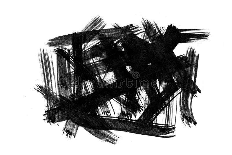 Abstract brush strokes and splashes of paint on white paper. Watercolor texture for creative wallpaper or design art work, black. And white colors stock illustration