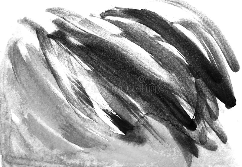 Abstract brush strokes and splashes of paint on white paper. Watercolor texture for creative wallpaper or design art work, black stock illustration