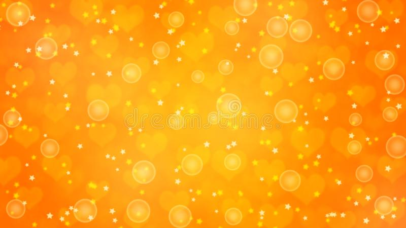 Abstract Bubbles, Blurred Stars and Hearts in Yellow and Orange Background royalty free illustration