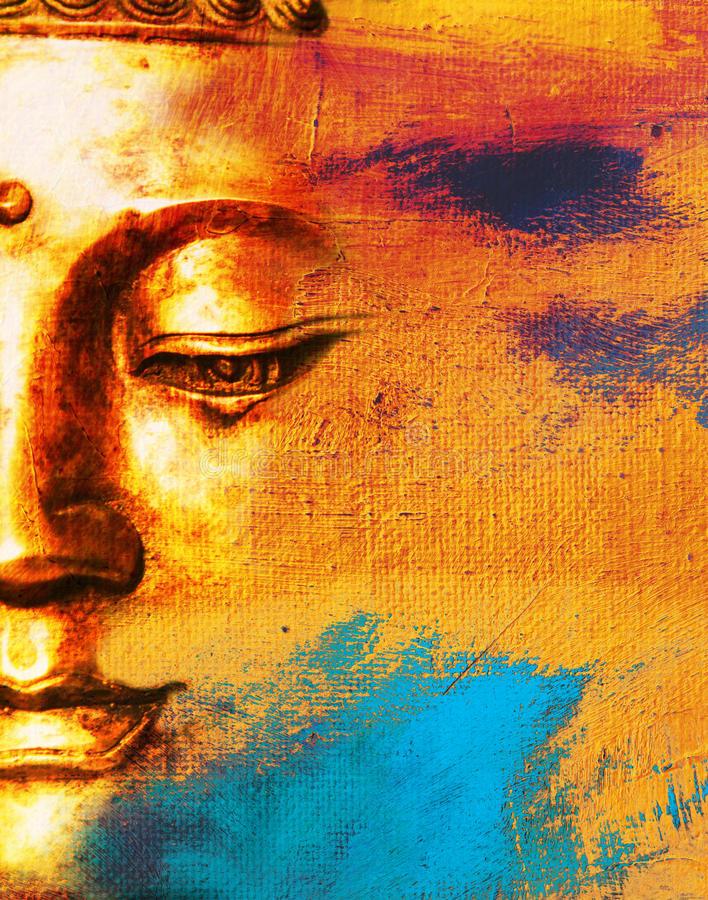 Abstract Buddhist Background. Abstract Painted Background With Buddha Face royalty free illustration