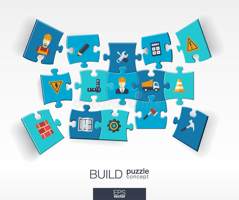 Abstract build background with connected color puzzles, integrated flat icons. 3d infographic concept with industry, Construction vector illustration