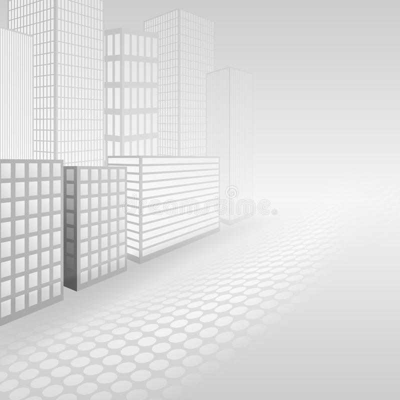 Abstract building perspective, white and grey background. Illustration vector illustration