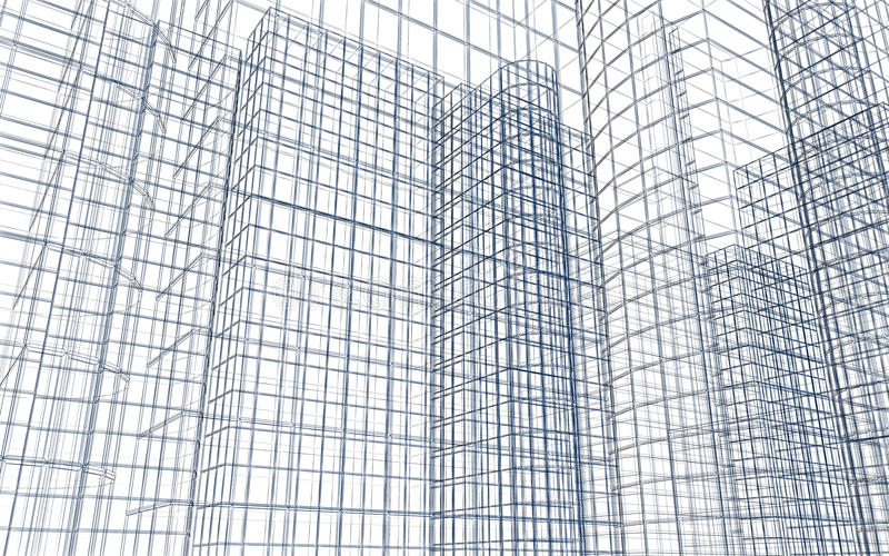Abstract building wireframe vector illustration