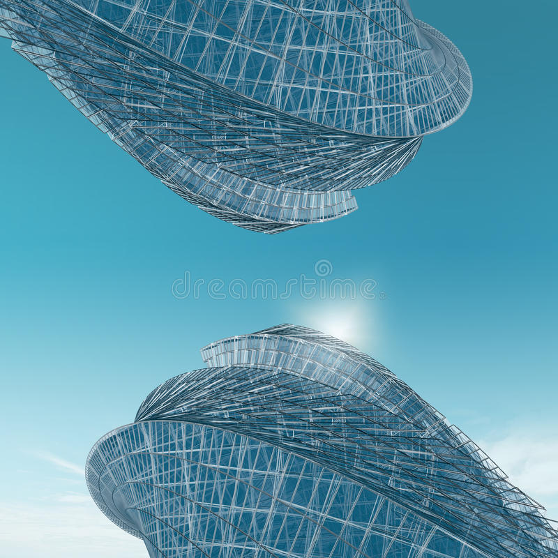 Abstract Buildings Opposite Stock Illustration