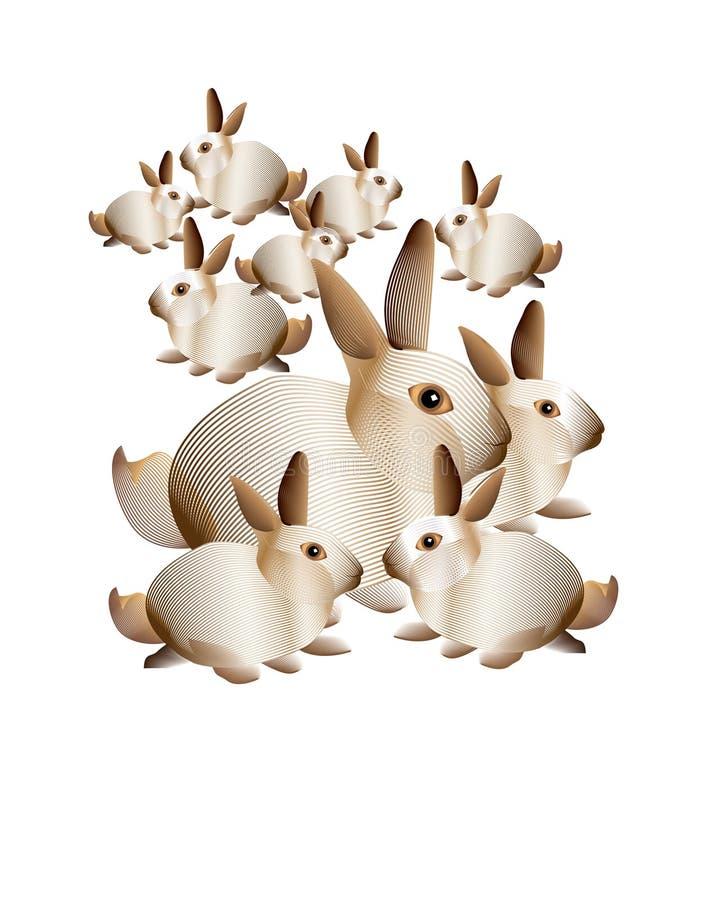 Abstract bunny rabbits royalty free stock images