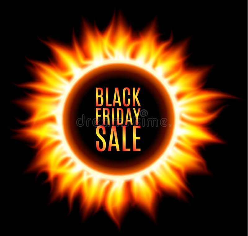 Abstract burning fire circle. Black friday sale. Fire sun. Vector illustration vector illustration