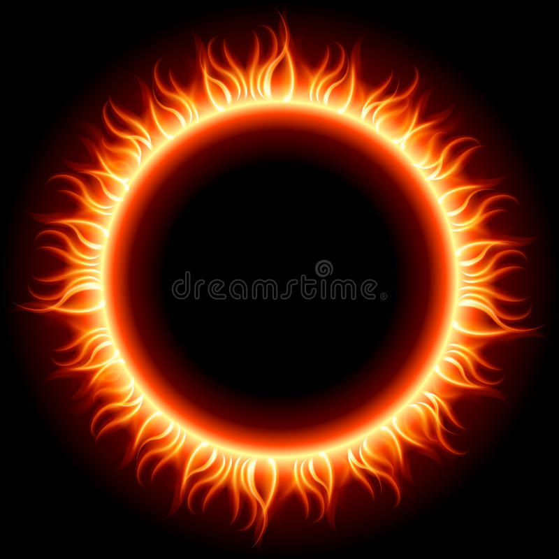Abstract burning fire circle top view royalty free illustration