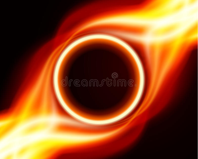 Abstract burning fire circle. Top view vector background royalty free illustration