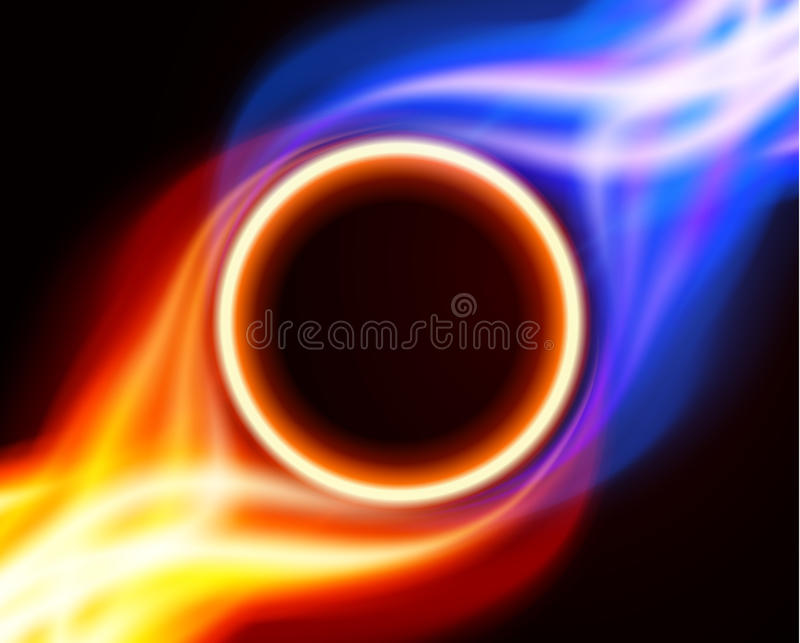 Abstract burning fire circle. Top view vector background vector illustration