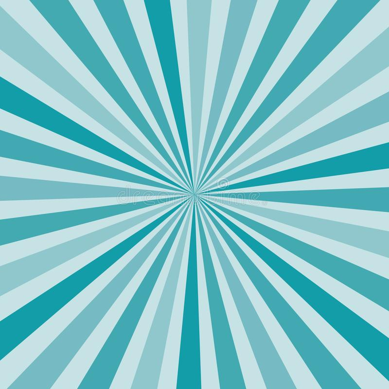 Abstract burst sunburst rays in shades of blue from center, pop art retro style vector eps10 background royalty free illustration