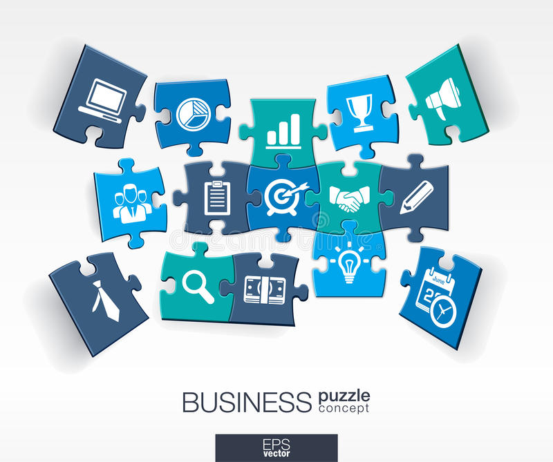 Abstract business background, connected color puzzles, integrated flat icons. 3d infographic concept with marketing research. Strategy, mission, analytics stock illustration