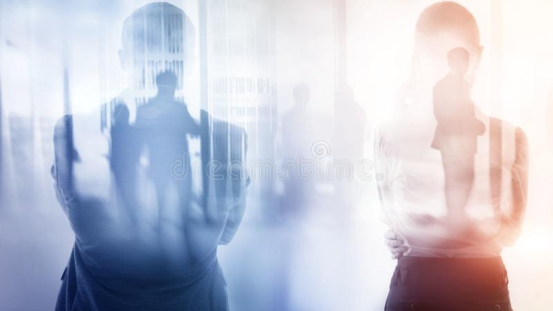 Abstract business background. Business people, double exposure.  stock photo