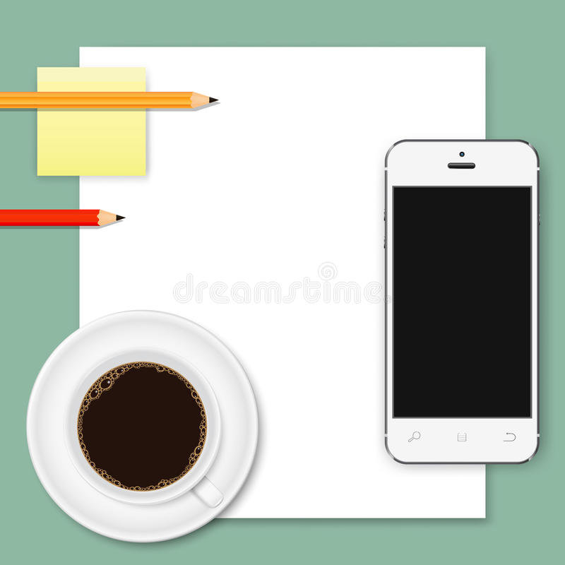 Abstract business background of white paper sheet, smartphone, coffee cup, and pencils royalty free illustration