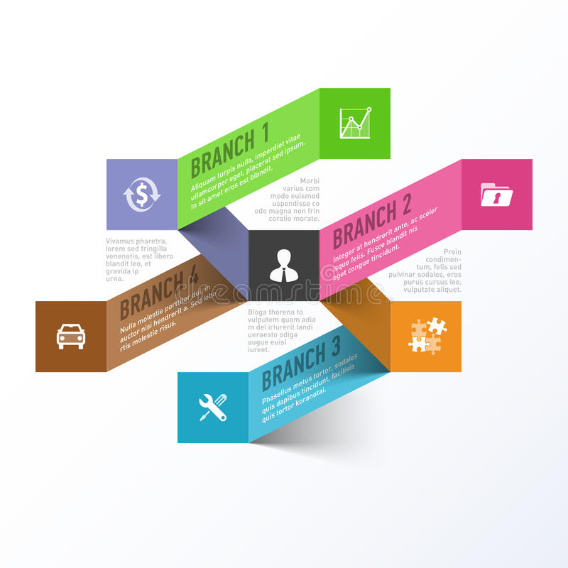 Abstract business branches infographics template royalty free illustration