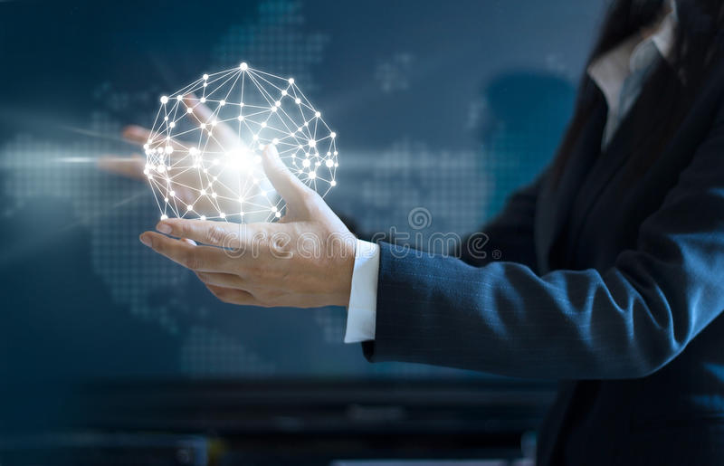 Abstract business, Business woman circle global network connection in hand. On at map dark background stock photo