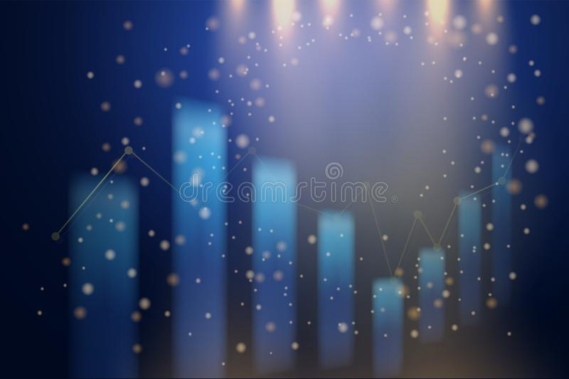 Abstract business candle stick graph chart and falling light background. stock illustration