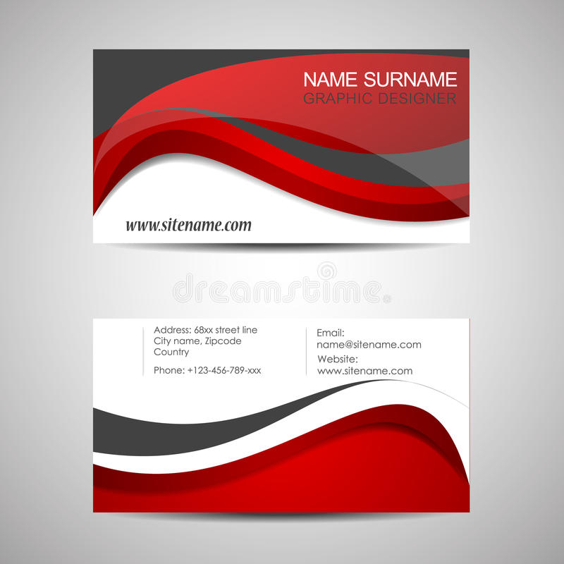 Abstract Business Card Template Or Visiting Card Set Stock Vector