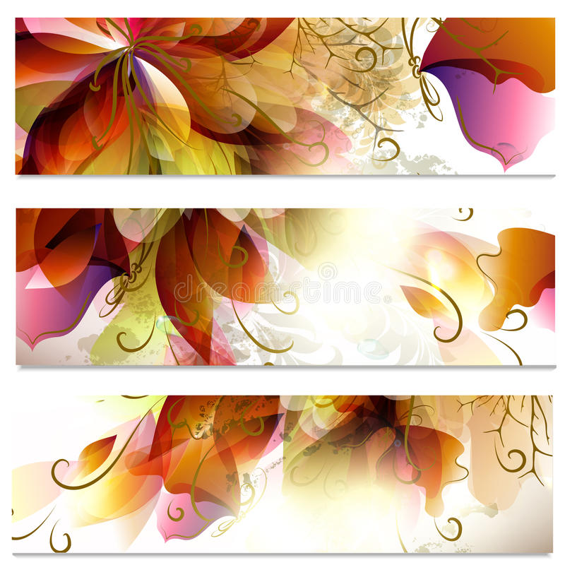 Abstract business cards set in floral style stock illustration