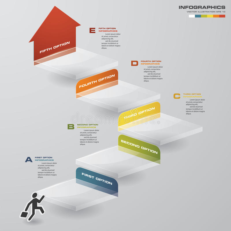 Abstract business chart. 5 Steps diagram template/graphic or website layout. Vector. Step by step idea royalty free illustration