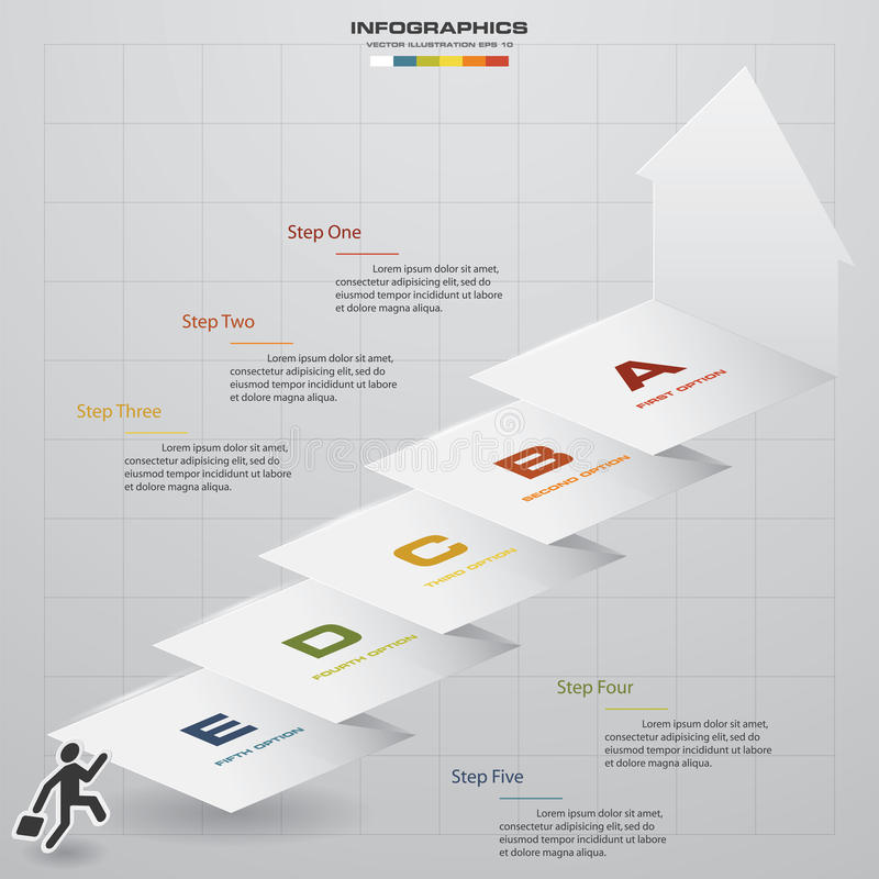 Abstract business chart. 5 Steps diagram template. Step by step idea. vector illustration