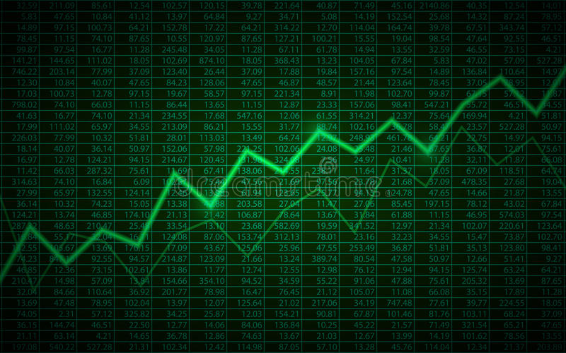 Abstract Business chart with uptrend line graph and stock numbers on green color background. Abstract Business chart with uptrend line graph and stock numbers in vector illustration