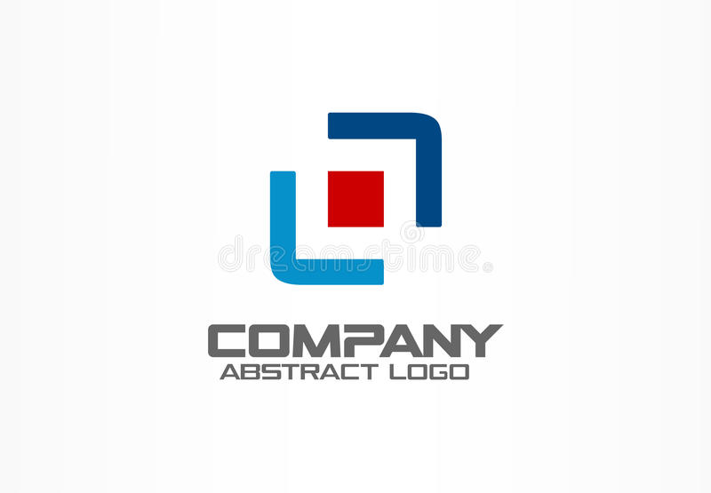 Abstract business company logo. Corporate identity design element. Camera focus, frame center, distribution logotype vector illustration