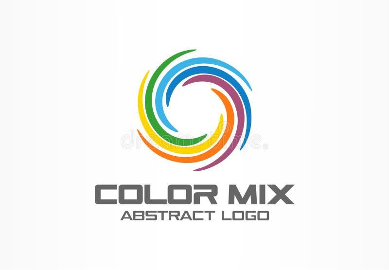 Abstract business company logo. Corporate identity design element. Color circle segments mix, round spectrum logotype. Idea. Multicolor art palette, paint swirl vector illustration