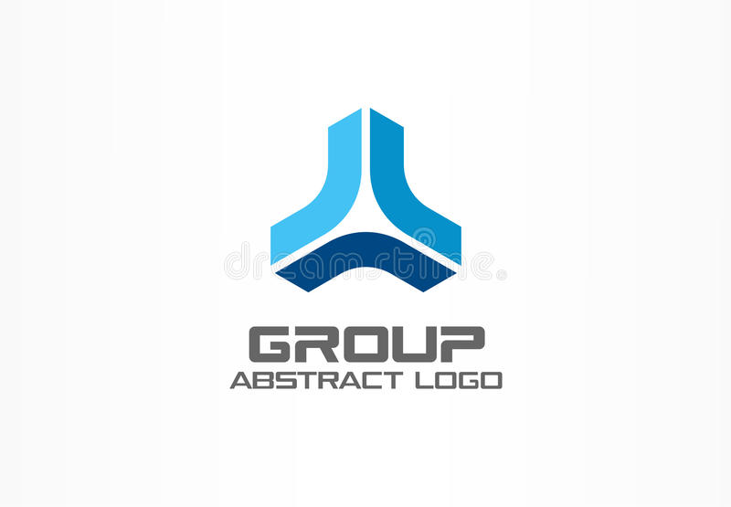 Abstract business company logo. Corporate identity design element. Market development, bank, growth group of three vector illustration