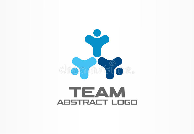 Abstract business company logo. Corporate identity design element. Teamwork, Social Media Logotype idea. Happy people royalty free illustration