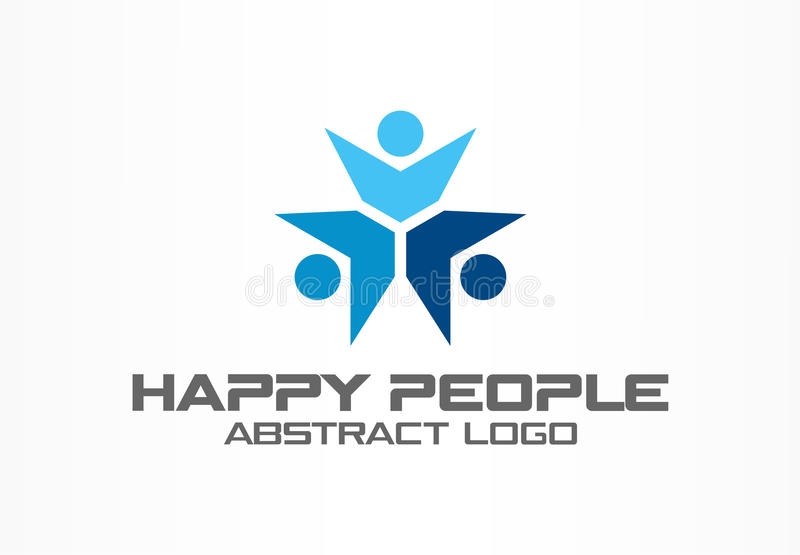 Abstract business company logo. Corporate identity design element. Teamwork, Social Media Logotype idea. Happy people. Connect, segments compound in circle stock illustration