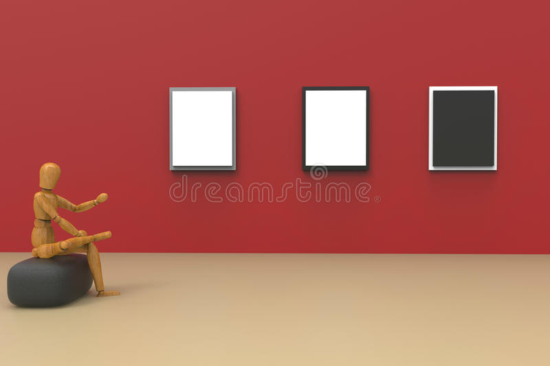 Abstract Business Gallery Studio and picture frame on Rad Wall modern creative display. Decoration Art Red wall royalty free stock photo