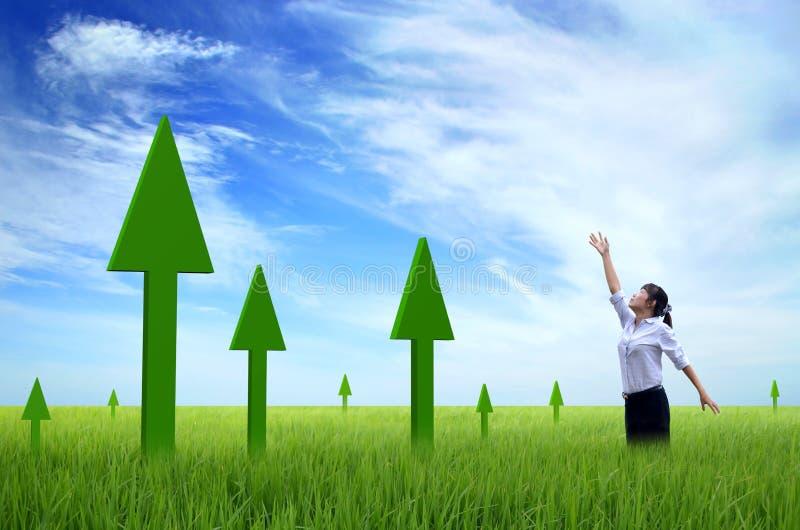 Abstract Business Growth - green arrow up. 3d stock photos