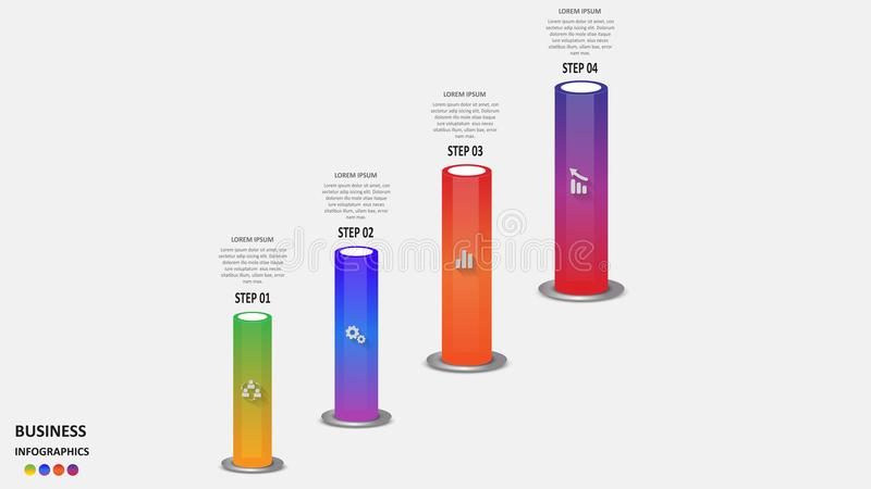 Abstract business infographics in the form of colored cylinders with business segments, icons and text. EPS 10. royalty free illustration