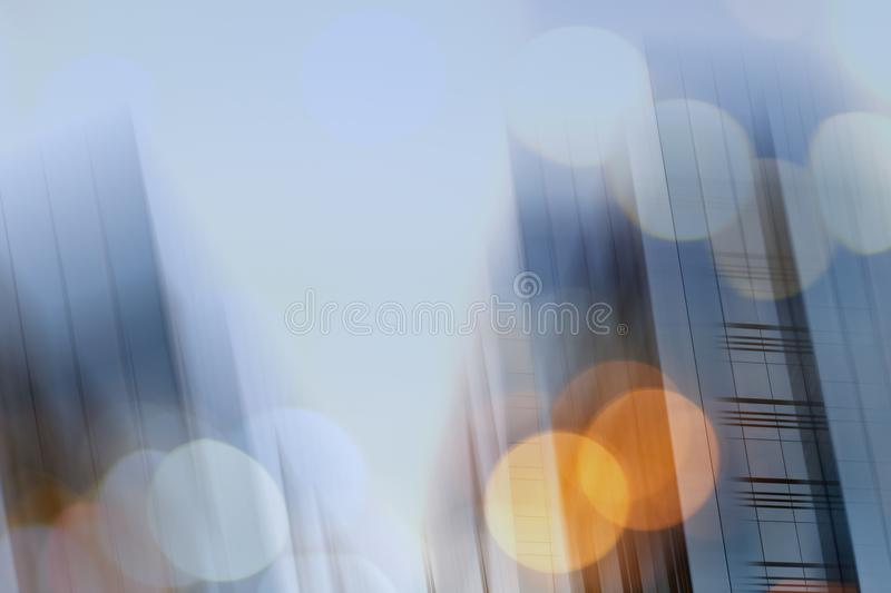 Abstract business modern city urban futuristic architecture background. Real estate concept, motion blur, reflection in. Glass of high rise skyscraper facade stock photo