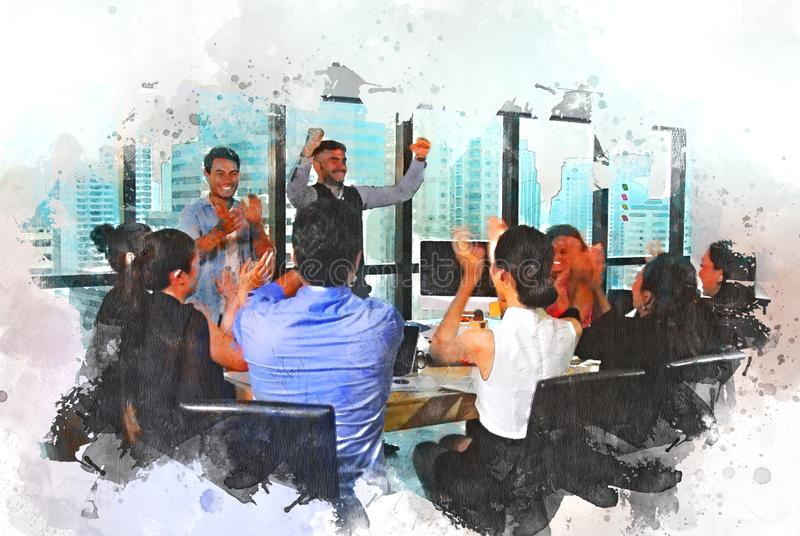 Abstract business persons group happy for work success concept on watercolor illustration paint background. stock illustration