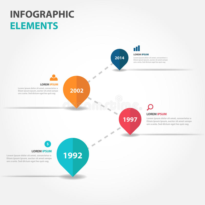 Abstract business timeline raodmap Infographics elements, presentation template flat design vector illustration for web design stock illustration