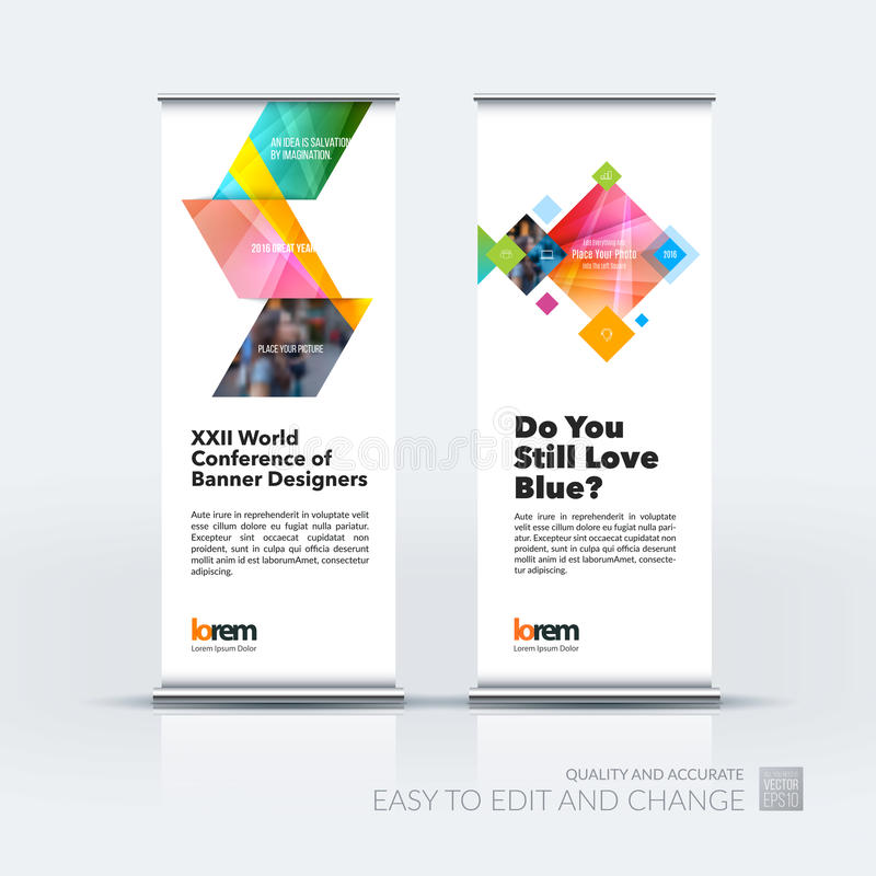 Abstract business vector set of modern roll Up Banner stand design template with yellow arrows, triangles for exhibition, fair, s. How, exposition, expo stock illustration