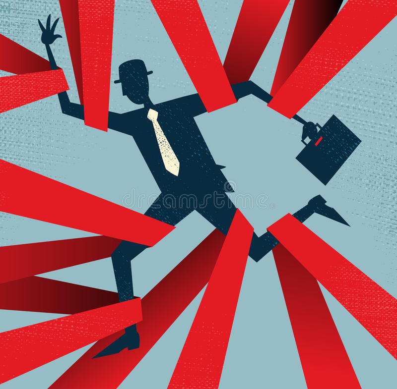 Abstract Businessman Caught In Red Tape. Royalty Free Stock Images