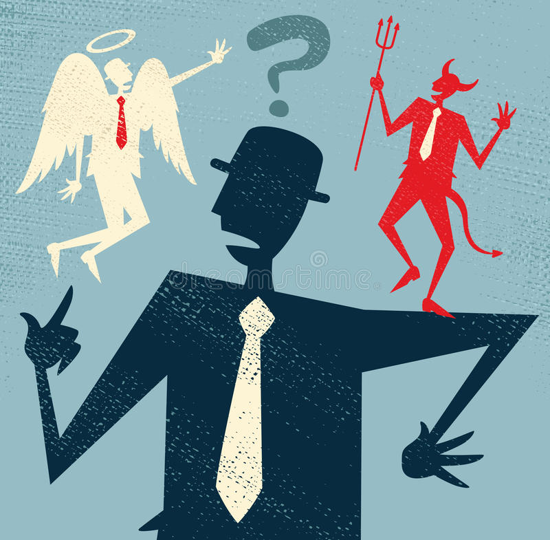 Abstract Businessman has a Moral Dilemma. Great illustration of Retro styled Abstract Businessman caught up in a Catch-22 battle of wills with both a devil and royalty free illustration