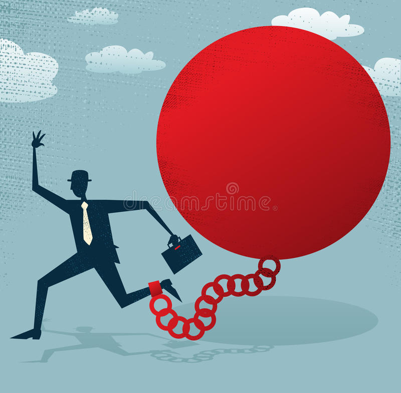 Download Abstract Businessman Locked In A Ball And Chain. Stock Vector - Illustration: 34447415