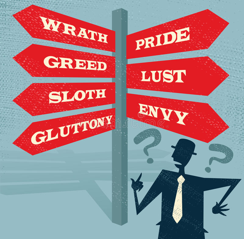 Abstract Businessman at Seven Deadly Sins Signpost. vector illustration