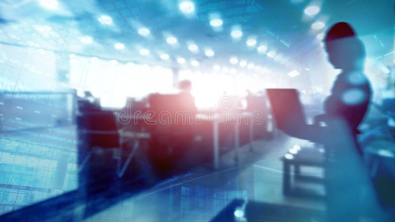 Abstract businessmen in spacious office interior on city background. Double exposure. stock image