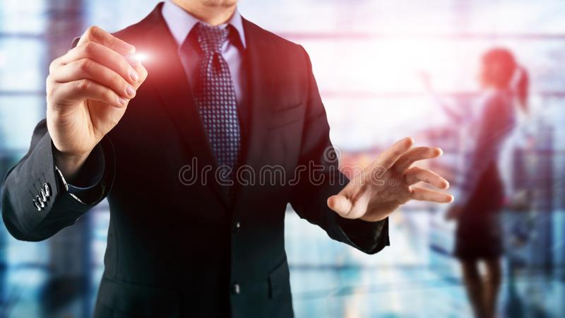 Abstract businessmen in spacious office interior on city background. Double exposure. stock photography