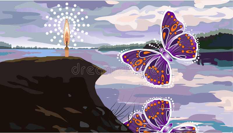 Abstract Butterflies And Beach Royalty Free Stock Photo
